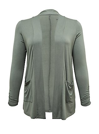 Plus Size Super Soft Light Olive Green Open Front Cardigan, AGAVE GREEN, flat