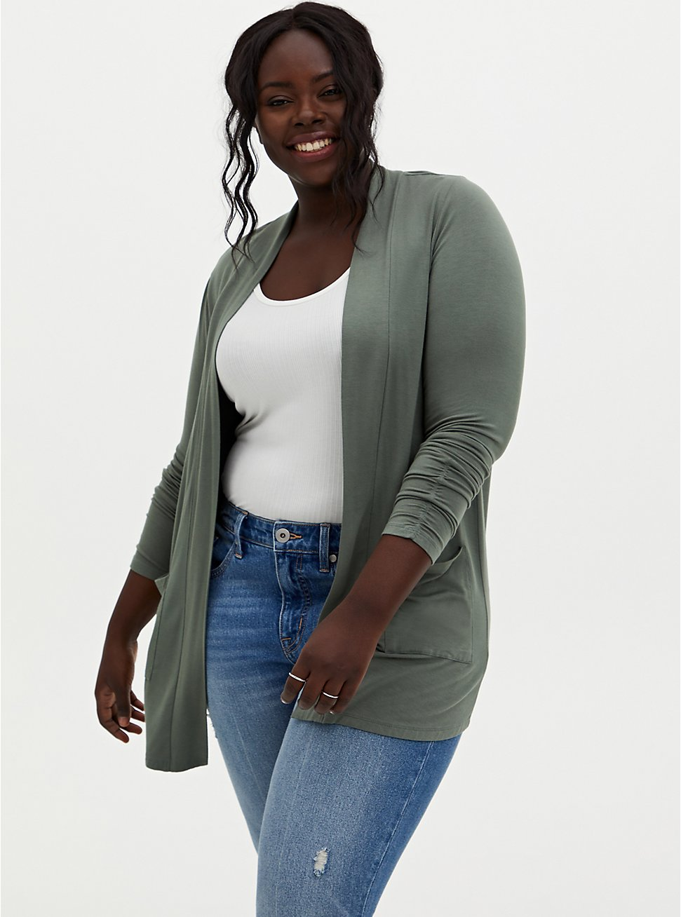 Plus Size Super Soft Light Olive Green Open Front Cardigan, AGAVE GREEN, hi-res