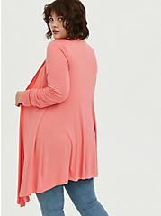 Super Soft Coral Drape Front Cardigan, WILD ORANGE, alternate