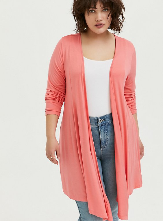 Plus Size Super Soft Coral Drape Front Cardigan, , hi-res