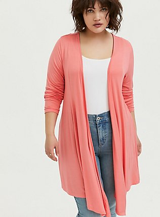 Super Soft Coral Drape Front Cardigan, WILD ORANGE, hi-res