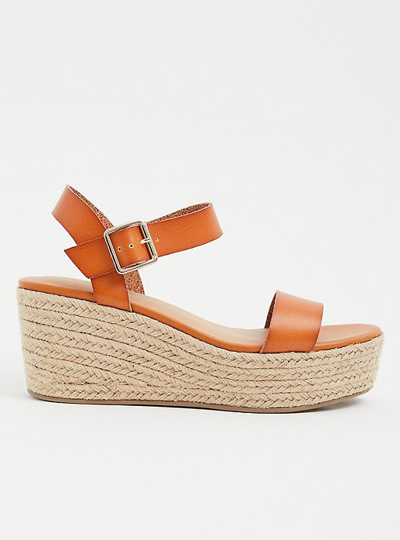 Plus Size Cognac Faux Leather Espadrille Platform Wedge (WW), , hi-res