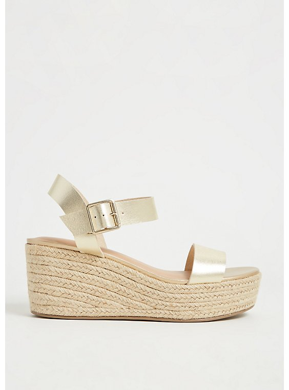 Plus Size Gold Faux Leather Espadrille Platform Wedge (WW), , hi-res