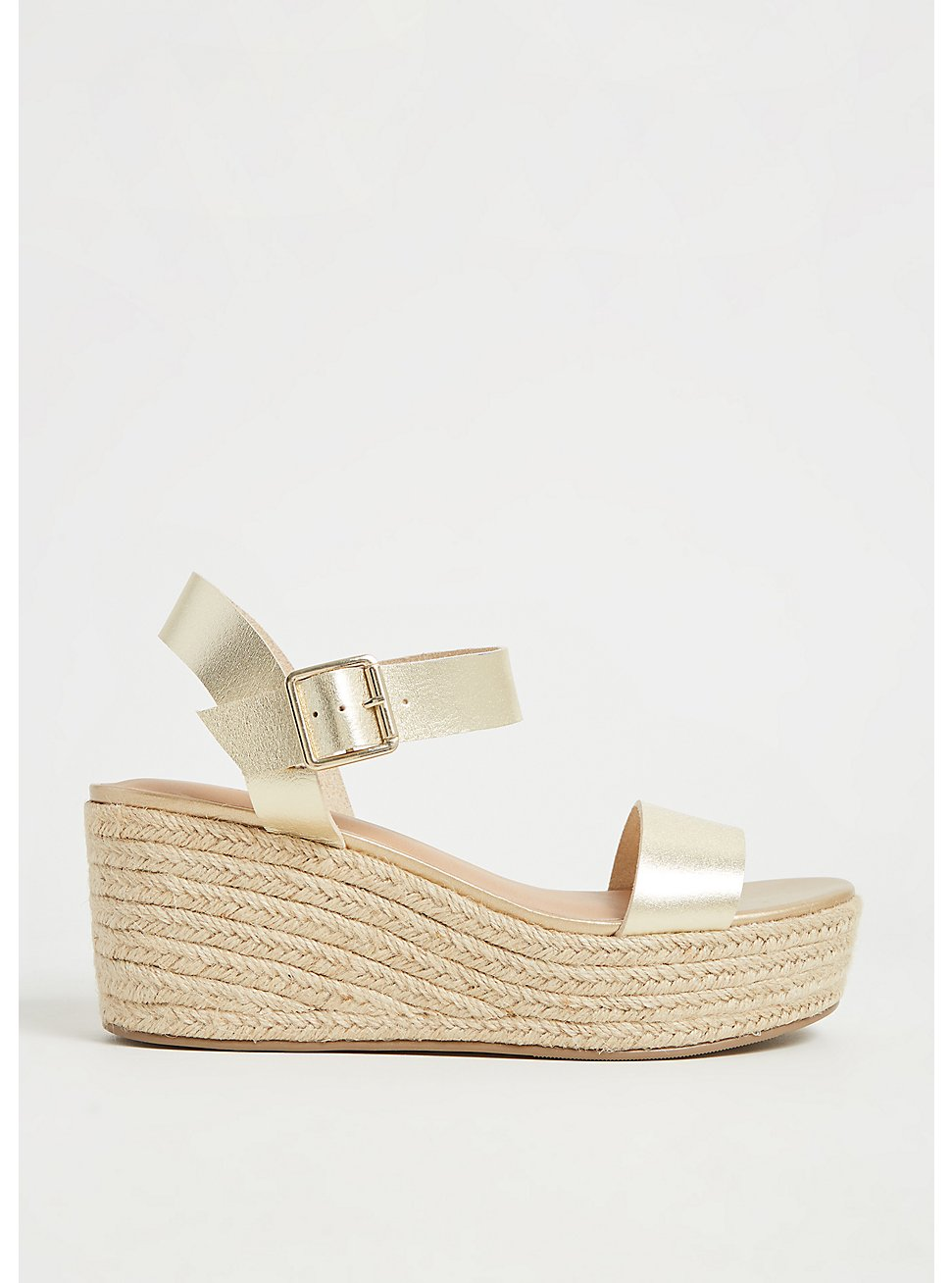 Gold Faux Leather Espadrille Platform Wedge (WW), GOLD, hi-res