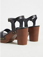 Plus Size Black Faux Leather Woodgrain Heel (WW), BLACK, alternate