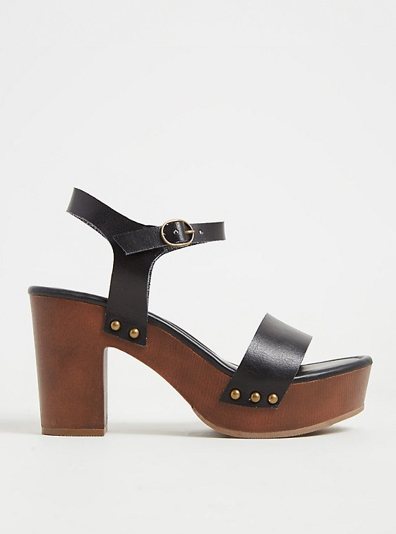 Black Faux Leather Woodgrain Heel (WW), , hi-res