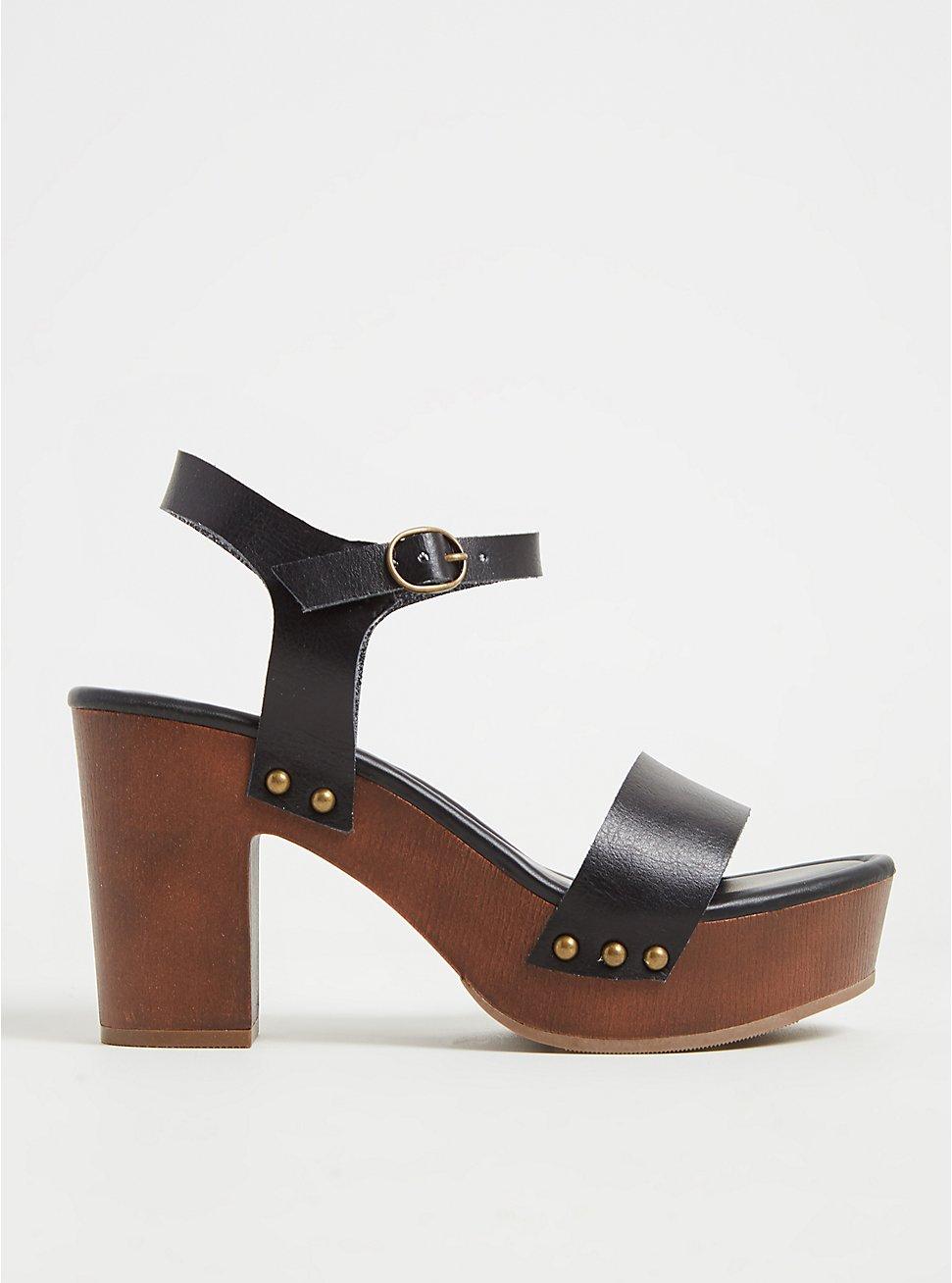 Plus Size Black Faux Leather Woodgrain Heel (WW), BLACK, hi-res