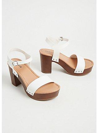 Plus Size White Faux Leather Woodgrain Platform Heel (WW), WHITE, alternate