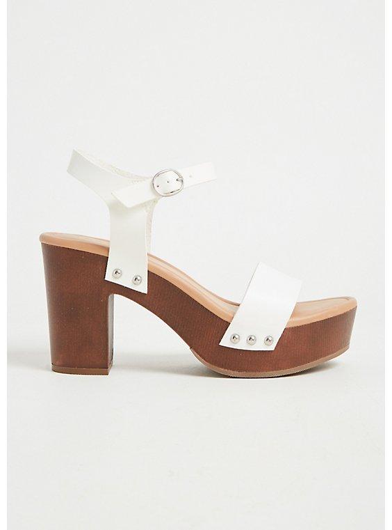 Plus Size White Faux Leather Woodgrain Platform Heel (WW), , hi-res