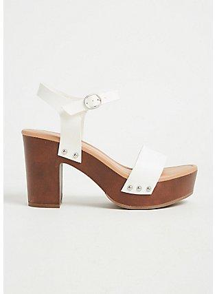 Plus Size White Faux Leather Woodgrain Platform Heel (WW), WHITE, hi-res