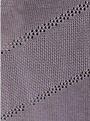 Plus Size Slate Grey Pointelle Open Front Cardigan, GREY, alternate