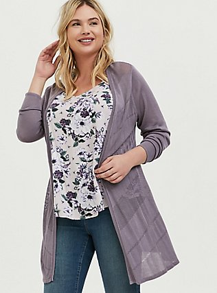 Slate Grey Pointelle Open Front Cardigan, GREY, hi-res