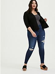Plus Size Black Open Stitch Crop Flare Cardigan, DEEP BLACK, alternate