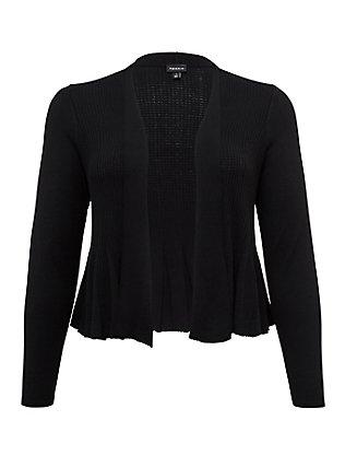 Black Open Stitch Crop Flare Cardigan, DEEP BLACK, flat