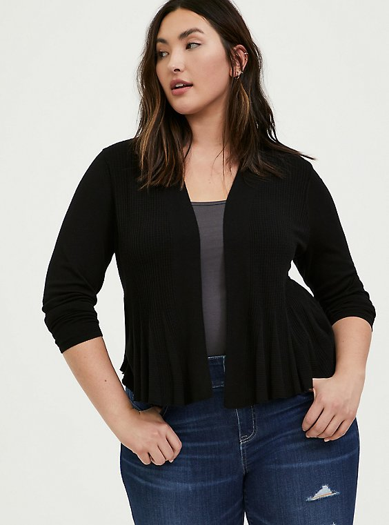 Black Open Stitch Crop Flare Cardigan, , hi-res