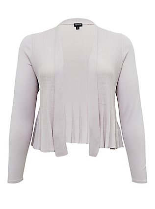 Lilac Purple Flare Drape Front Crop Cardigan, LILAC MARBLE, flat