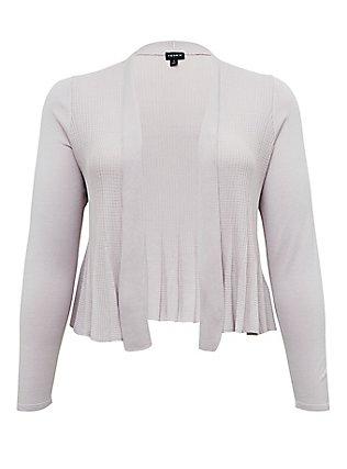 Plus Size Lilac Purple Flare Drape Front Crop Cardigan, LILAC MARBLE, flat