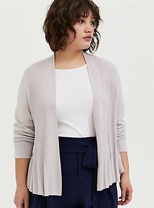 Plus Size Lilac Purple Flare Drape Front Crop Cardigan, LILAC MARBLE, hi-res