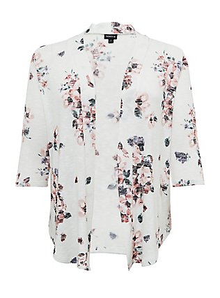 White Floral Hacci Cardigan, FLORAL - IVORY, flat