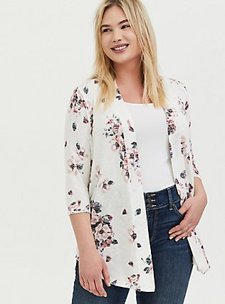 White Floral Hacci Cardigan, FLORAL - IVORY, hi-res
