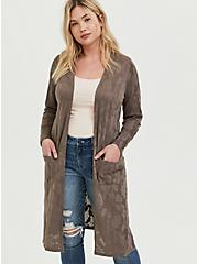 Dark Taupe Floral Pointelle Longline Cardigan, FALCON, hi-res