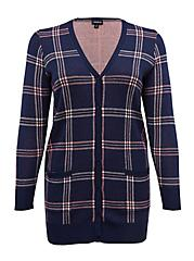Plus Size Navy & Pink Plaid Jacquard Cardigan, PLAID - BLUE, hi-res