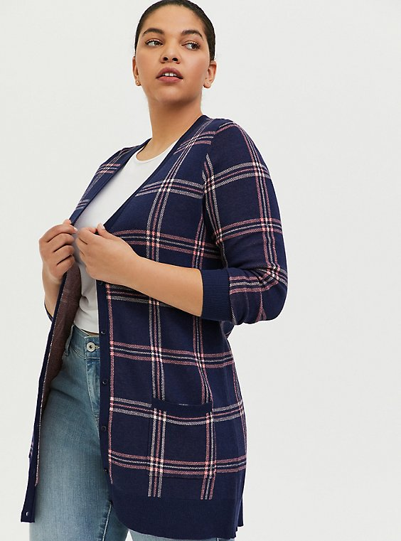 Plus Size Navy & Pink Plaid Jacquard Cardigan, , hi-res