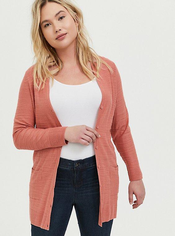 Plus Size Coral Textured Slub Boyfriend Cardigan, , hi-res