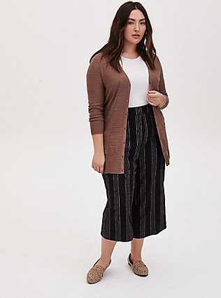Dark Taupe Textured Slub Boyfriend Cardigan, DEEP TAUPE, alternate