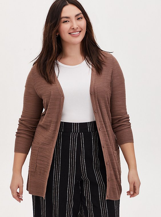 Plus Size Dark Taupe Textured Slub Boyfriend Cardigan, , hi-res