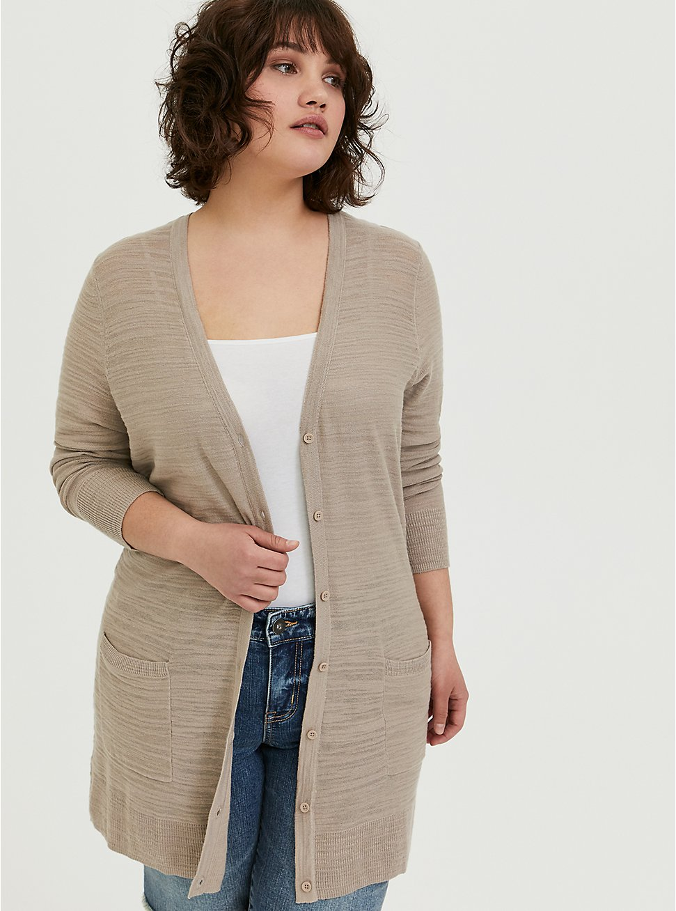 Taupe Textured Slub Boyfriend Cardigan, ATMOSPHERE, hi-res