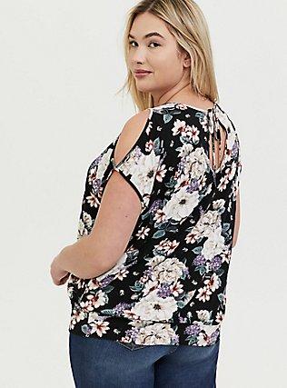 Plus Size Super Soft Black Floral Cold Shoulder Top, FLORAL PRINT, alternate
