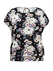 Super Soft Black Floral Cold Shoulder Top, FLORAL PRINT, hi-res
