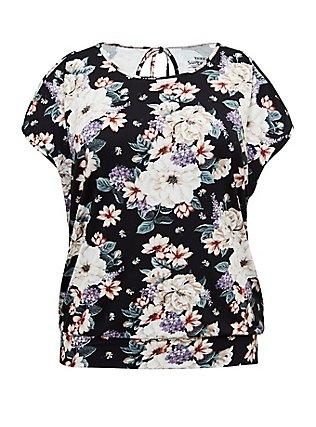 Plus Size Super Soft Black Floral Cold Shoulder Top, FLORAL PRINT, flat