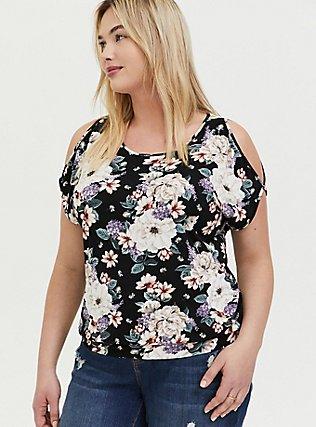 Plus Size Super Soft Black Floral Cold Shoulder Top, FLORAL PRINT, hi-res