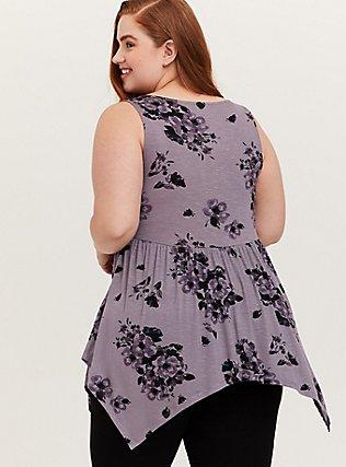 Plus Size Super Soft Slate Grey Floral Handkerchief Babydoll Tank, FLORAL PRINT, alternate