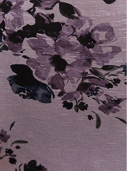 Super Soft Slate Grey Floral Handkerchief Babydoll Tank, FLORAL PRINT, alternate