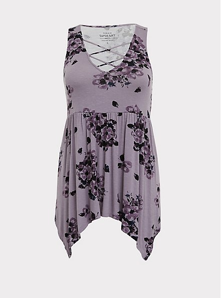 Super Soft Slate Grey Floral Handkerchief Babydoll Tank, FLORAL PRINT, hi-res