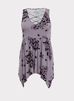 Plus Size Super Soft Slate Grey Floral Handkerchief Babydoll Tank, FLORAL PRINT, flat