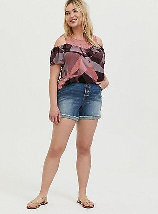 Plus Size Super Soft Pink Geo & Eyelet Cold Shoulder Top, GEO-MULTI, alternate