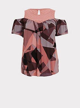 Plus Size Super Soft Pink Geo & Eyelet Cold Shoulder Top, GEO-MULTI, flat