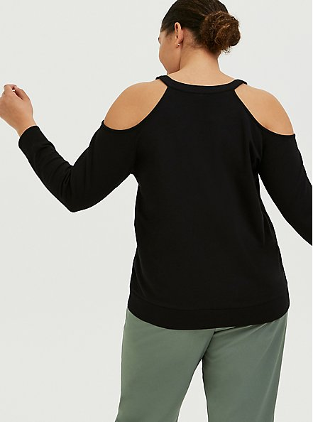 Plus Size Black Terry Cold Shoulder Sweatshirt, DEEP BLACK, alternate