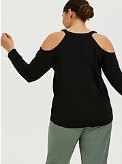 Black Terry Cold Shoulder Sweatshirt, DEEP BLACK, alternate