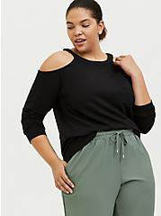 Black Terry Cold Shoulder Sweatshirt, DEEP BLACK, hi-res