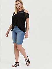Plus Size Black Lace Cold Shoulder Top, DEEP BLACK, alternate