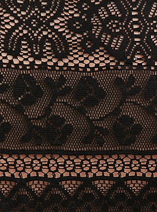Black Lace Cold Shoulder Top, DEEP BLACK, alternate
