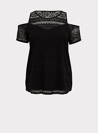 Black Lace Cold Shoulder Top, DEEP BLACK, flat