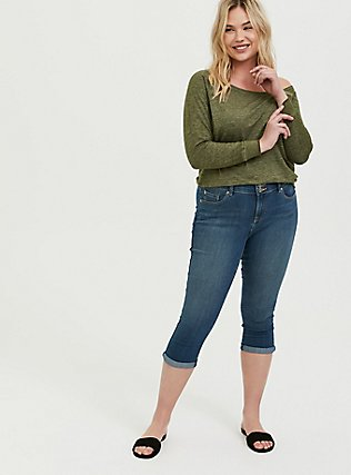 Olive Green Burnout Terry Off Shoulder Sweatshirt, DEEP DEPTHS, alternate