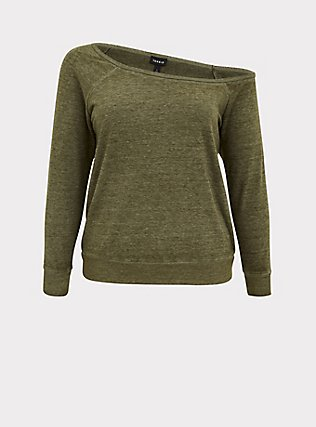 Olive Green Burnout Terry Off Shoulder Sweatshirt, DEEP DEPTHS, flat
