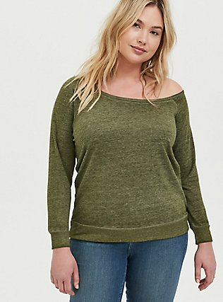 Olive Green Burnout Terry Off Shoulder Sweatshirt, DEEP DEPTHS, hi-res